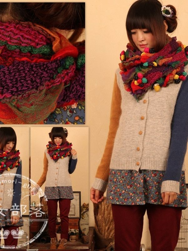 2 different sweat sleeves. cute scarf