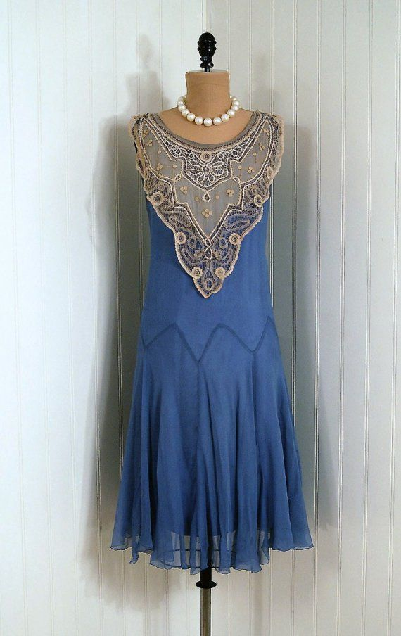 1920's Periwinkle-Blue Silk Crepe-Chiffon Dress  From TimelessVixenVintage