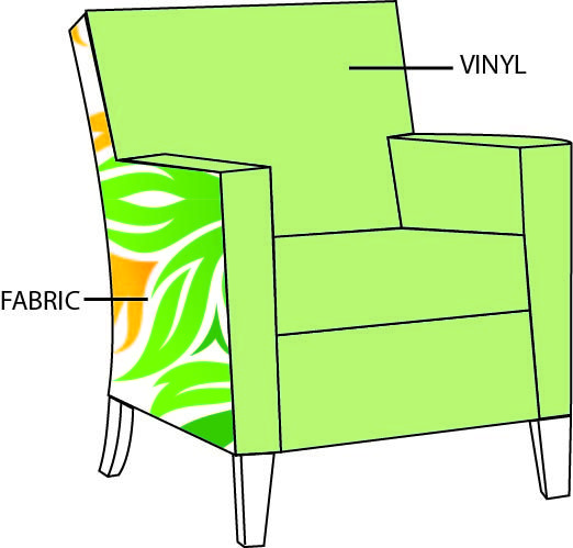 An example of how the Vinyl and Fabric is upholstered on chairs that can have both fabrics.