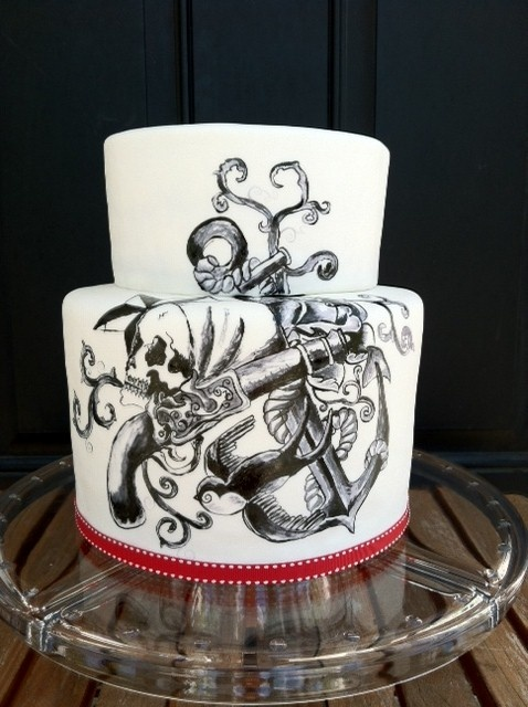 Pirate tattoo cake all hand painted by sweet and swanky for How to shower with a new tattoo