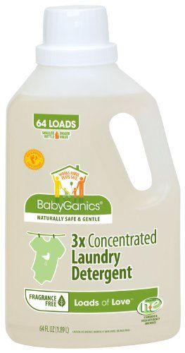 """BabyGanics Loads of Love 3X Laundry Detergent, Economy Size, Fragrance Free, 64-Fluid Ounce Bottle by BabyGanics. $18.99. Launched in 2002, BabyGanics is the brainchild of two young dads, compulsive clean freaks actually, who were shocked at the level of toxicity in """"traditional"""" household cleaning products and were equally unimpressed with so-called """"green"""" cleaners.Their mission: Establish the standard and authority for safe, effective, and natural ho..."""