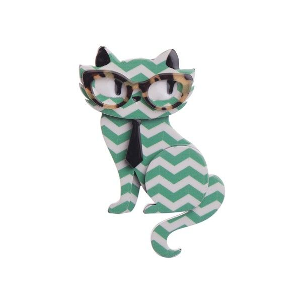 """Erstwilder Limited Edition Elissa the Indie Cat mint resin brooch. """"Just chillin' on this purrfect day. What's for lunch Elissa? Kale smoothies all the way!"""""""