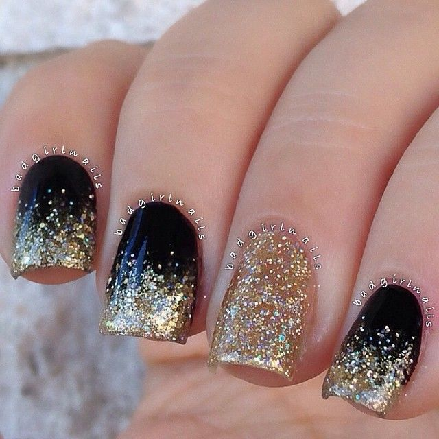 "Black and gold✨ One of my all time favorite color combos The gorgeous glitter I used in this mani is called ""RSVP"" by @delushpolish I've done a few glitter gradient tutorials in the past, but let me know if you guys want to see how to create this easy glam look"