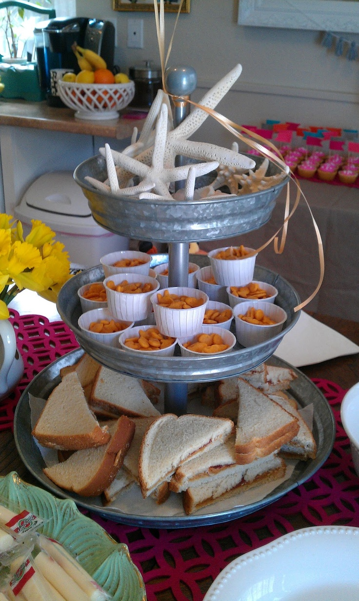 Cute kid party food . Love the goldfish in a mini cup!