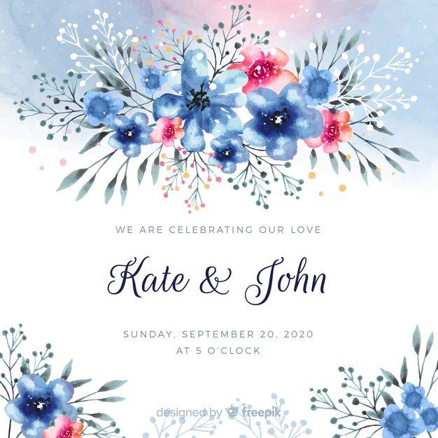 Lade Aquarell Blumen Hochzeit Kartenvorlage Kostenlos Herunter In