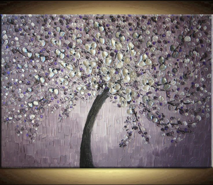 large oil impasto painting original abstract texture modern purple silver gray pewter floral tree sculpture knife