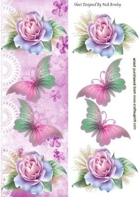 Pretty pink roses and butterflies on lace tall DL on Craftsuprint - Add To Basket!