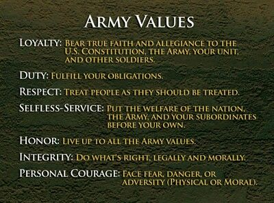 Army values. These will forever be embedded in my memory.  US Army Help celebrate a great career in the US Army