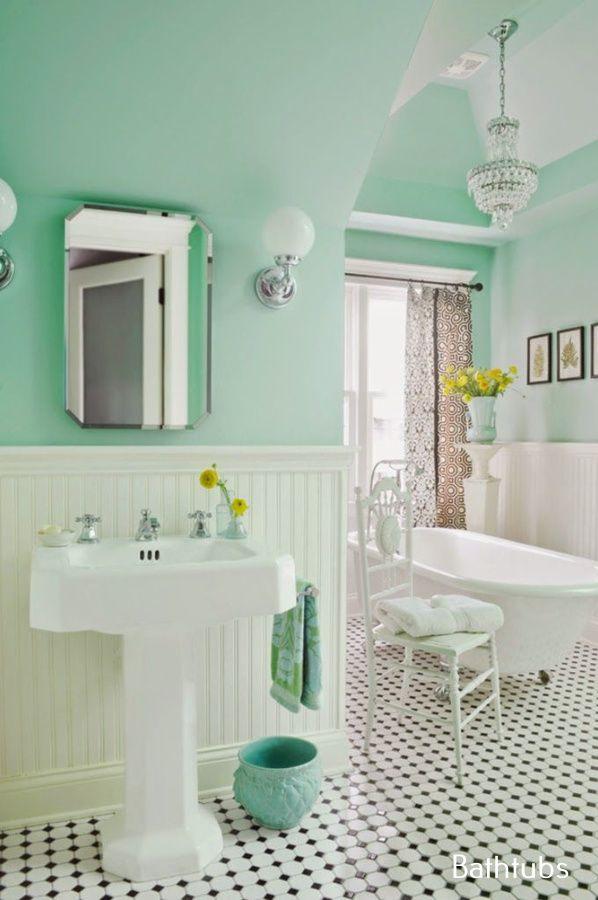 Jet Bathtub Remodel Green Bathroom Mint Green Bathrooms Cottage Style Bathrooms