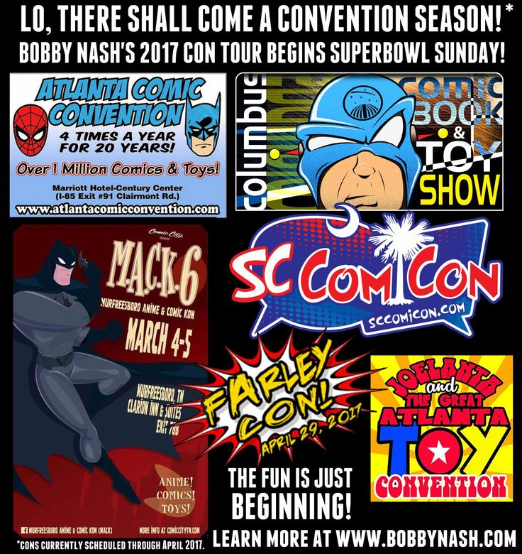 My 2017 convention/appearance tour kicks off in 2 weeks with ACC, my hometown show. Here's where I'll be through the end of April. I will probably add more to this as I go along. Keep checking the Convention/Appearances tab at www.bobbynash.com to keep up to date.  Taking a cue from my buddy, J.R. Mounts, I've decided to name my tour this year. I'm calling it the LO, THERE SHALL COME A CON TOUR! out of respect to all those old comic covers I love.