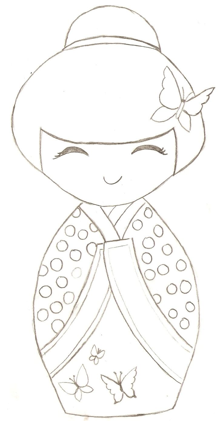 Free Kokeshi Dolls Coloring Pages