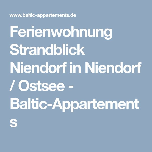 Ferienwohnung Strandblick Niendorf in Niendorf / Ostsee - Baltic-Appartements