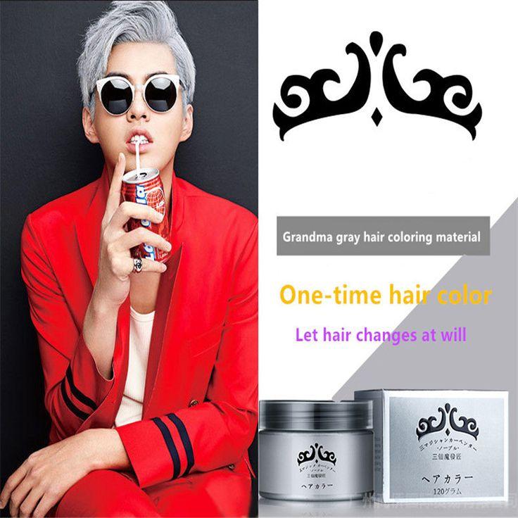 La abuela cera gris, 120g enviar hombres y mujeres no duele gris plata pelo barro, tinte de pelo de una sola vez S228A
