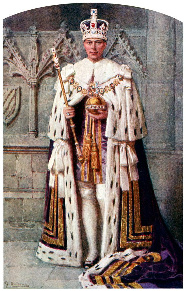 George VI in coronation robes: the Robe of Purple Velvet, with the Imperial State Crown by Fortunino Matania