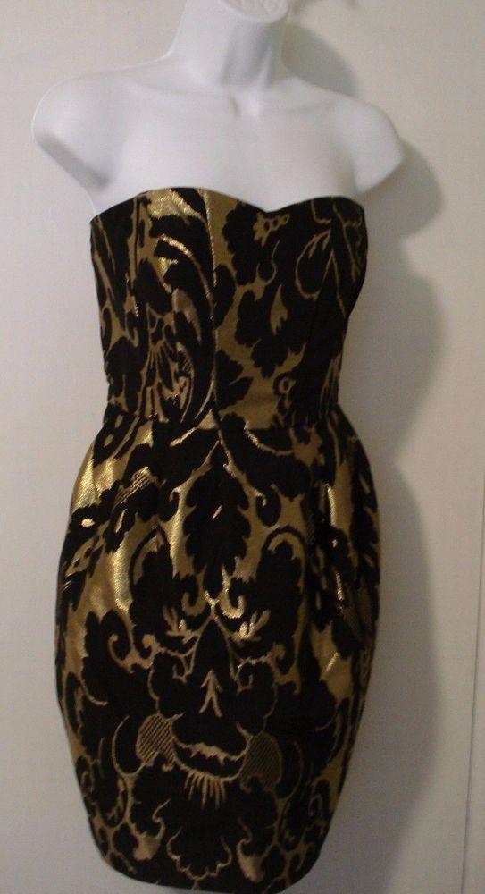 """H&M"" STRAPLESS, BLACK & GOLD METALLIC PARTY DRESS SZ 10 #HM #WrapDress #Cocktail"