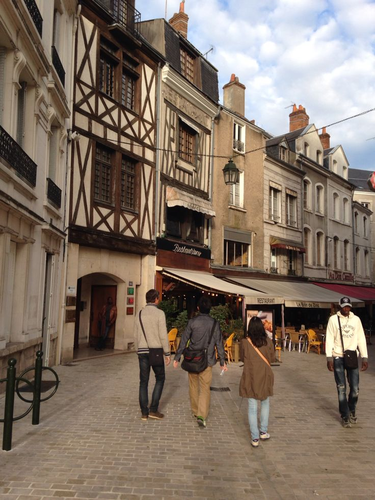 Old Town of Orleans, France. There are a lot of stylish cafes.