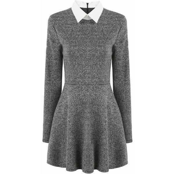 Romwe Contrast Collar Pleated Dress ($17) ❤ liked on Polyvore featuring dresses, grey, flared dress, zipper dress, embellished dresses, long sleeve flare dress and tweed dress