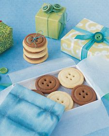Button cookies, tied with a ribbon and a real button on the box!