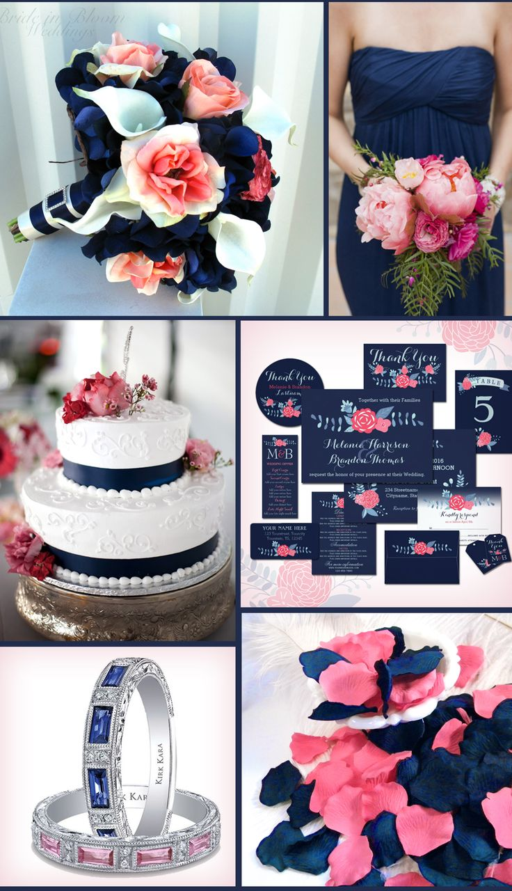 Navy blue and pink wedding inspiration. (Bouquet by BrideinBloomWeddings at Etsy, Dress and flower from Intimite Weddings,  Cake from BelleTheMagazine, Invitation set by 17minutes at Zazzle,  Ring by Kirk Kara,   Petals by MorrellDecor at Etsy)