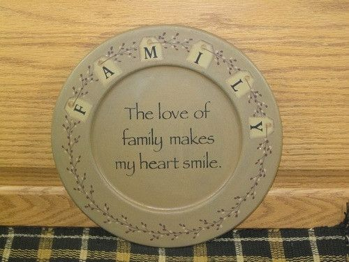 These cute decorative plates speak of the Love of Family! And you can put them just about anywhere to add to your primitive country decor. https://www.primitivestarquiltshop.com/products/love-of-family-wood-plate #primitivehomedecor