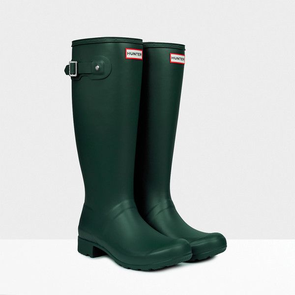 Hunter Original Tall Rain Boots ($148) ❤ liked on Polyvore featuring shoes, boots, hunter green, knee-high boots, hunter boots, rain boots, waterproof wellington boots, tall rubber boots and wellies boots