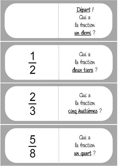 Un jeu inspiré des dominos pour consolider l'apprentissage des fractions.