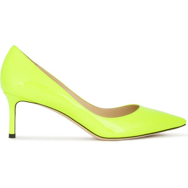 Jimmy Choo neon Romy 60 pumps ($548) ❤ liked on Polyvore featuring shoes, pumps, fluorescent shoes, jimmy choo, neon shoes, neon pumps and jimmy choo shoes