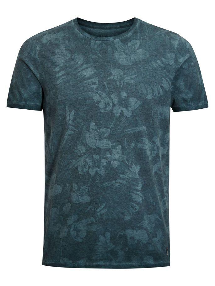 Floral slim fit tshirt, in blue teal, cotton blend for softness and breathability | JACK & JONES #vintage #blue #teal #leaves #flowers #print #tee