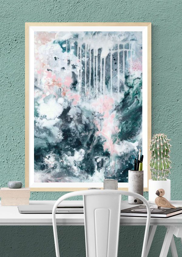 This fine art abstract wall print is in beautiful tones of deep blue-grey, with touches of deep green, copper and blush pink. It's a gorgeous choice for a nordic inspired or scandinavian style living area but will work well in any timeless setting. Professionally photographed by fine art printers in Adelaide.