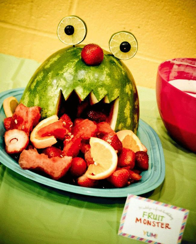 Carve a watermelon into a fruit monster. Would be cute for a little kids birthday party or big kid too :)