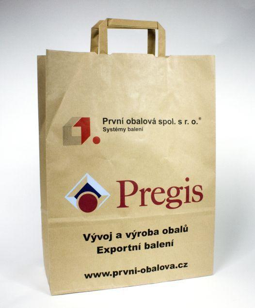 Firemní papírová taška s plochým držadlem s potiskem.
