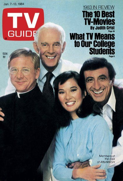 """January 7, 1984 - William Christopher, Harry Morgan, Rosalind Chao, and Jamie Farr of CBS's """"AfterMASH."""""""