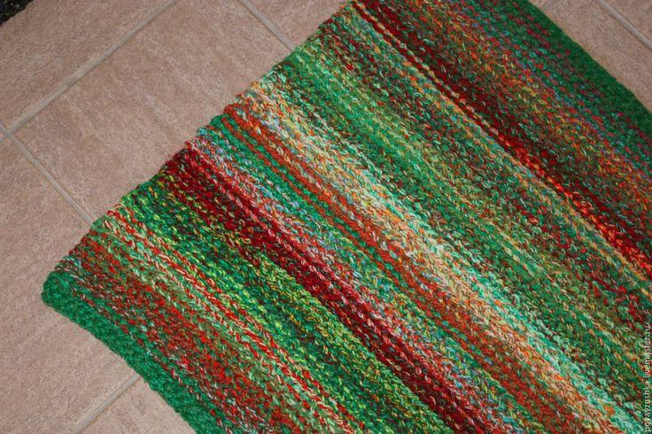 """Купить вязаный коврик дорожка """"Цветущий Луг"""" - комбинированный, вязаный коврик, вязаный коврик-дорожка"""