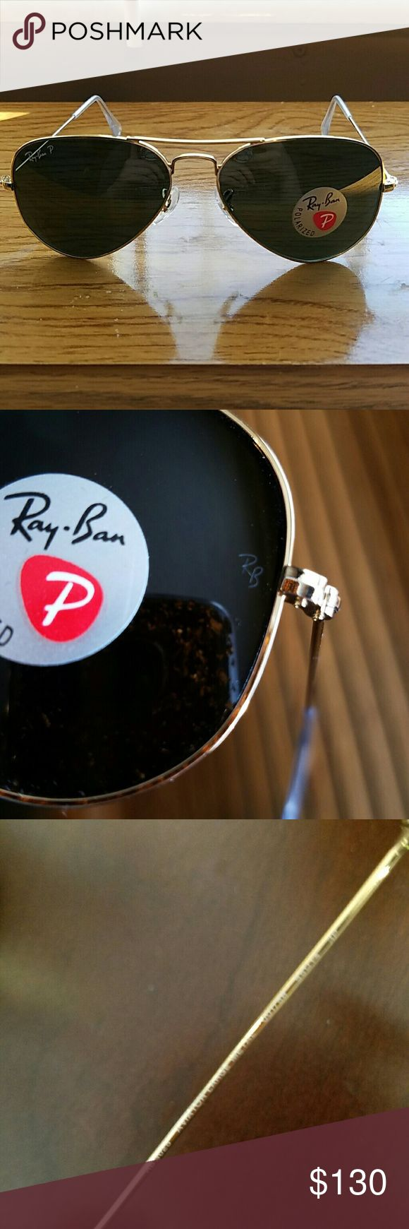 RayBan polarized sunglasses aviator gold frame RB3025 Large metal 001/58 55016 3P is what it says inside the frame. They are original Ray-Ban sunglasses, as you can see the RB on the side of the lenses.  This pair does not come with the original box. Frames only. NO TRADES Ray-Ban Accessories Sunglasses