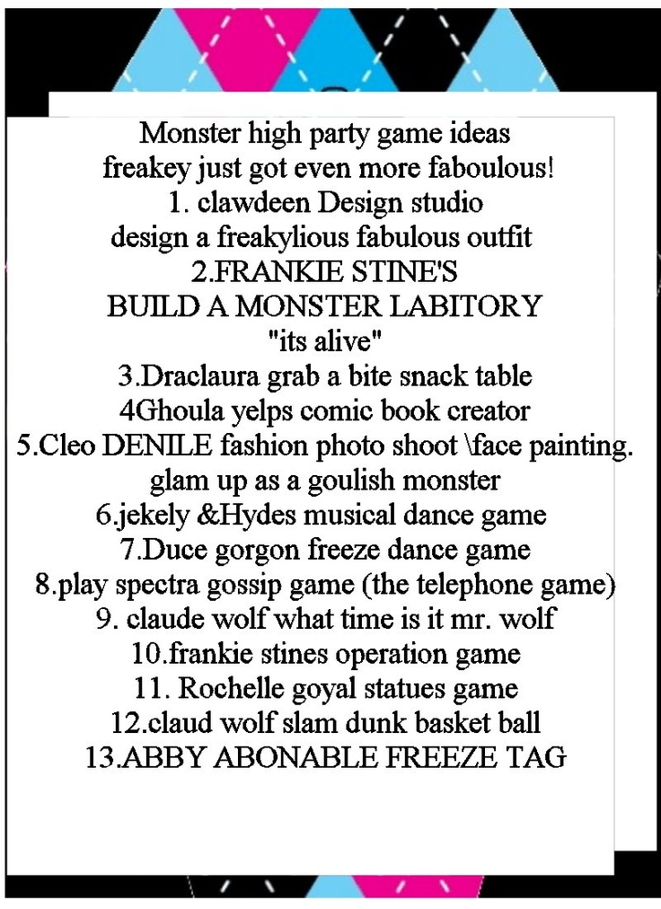 a list of monster high games and party ideas