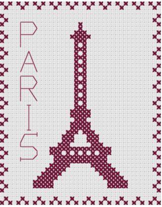 Grille broderie tour eiffel tricot motifs jacquard - Broderie point compte grille gratuite ...