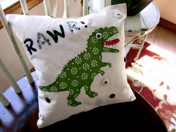 Adorable Handmade Dinosaur Pillow by RosieRiveter94, $25.00
