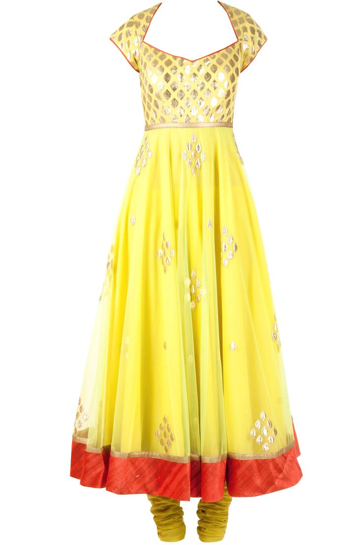 Yellow net applique anarkali kurta set available only at Pernia's Pop-Up Shop.