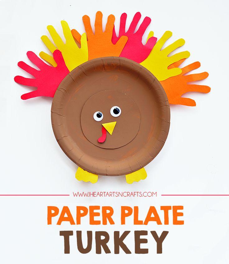 Handprint Paper Plate Turkey Kids Craft