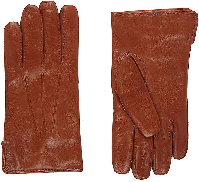 Barneys New York Men's Nappa Leather Gloves-BROWN