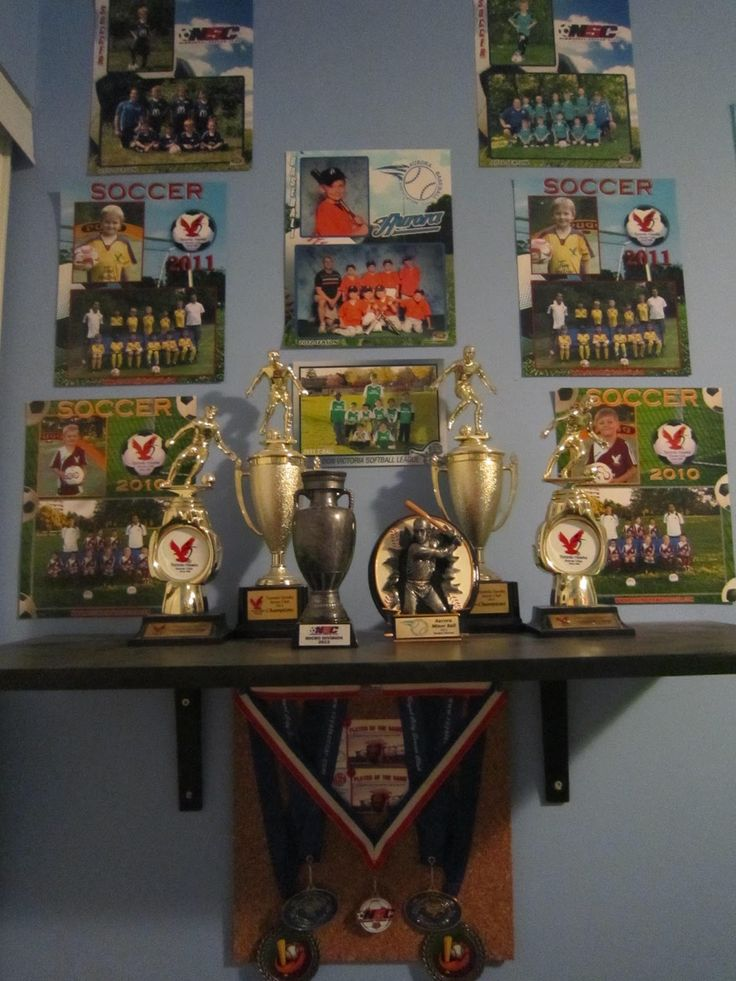 Vanity Wall Sports Trophies Sports Themed Decor Kids