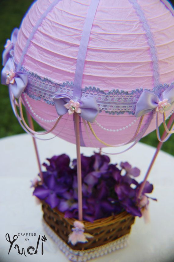 Hot Air Balloon Party Decoration floral base // Hot Air Balloon Centerpiece in Pink and purple