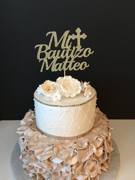 Personalized Mi Bautizo Cake Topper by SugarPlumCreationsCo