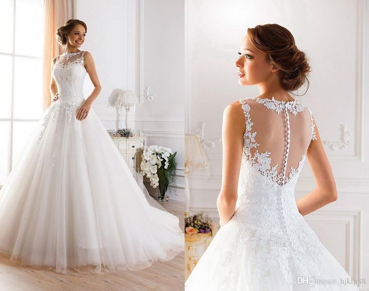 2015 Sexy Illusion Jewel Neckline A Line Sheer Wedding Dresses Beaded Lace  Fluffy Backless Wedding Gowns Princess Ball Gown Wedding Dresses