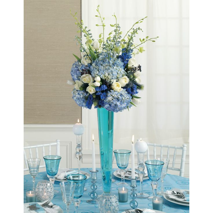 Ideas For Wedding Flower Arrangements: Blue Reception Wedding Flowers, Wedding Decor, Wedding