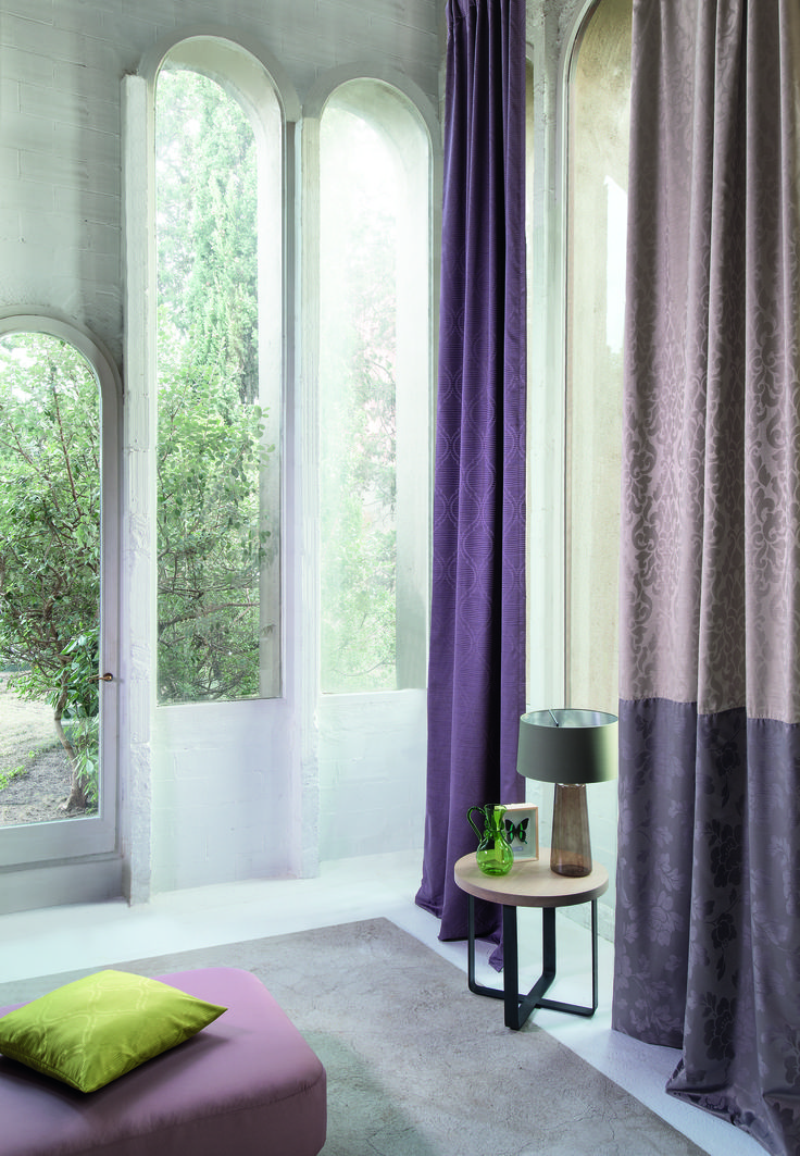 Collections — pouf: Whaoo, right curtain and cushion: Venere