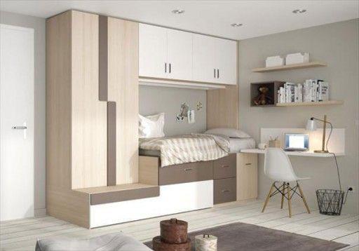 Soluciones para dormitorios juveniles peque os dormitorio compacto ringo de kibuc con cama nido for Habitaciones juveniles 3 camas