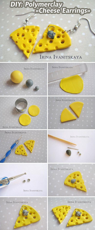 """Делаем """"Сырные серьги"""" из полимерной глины / DIY: Cheese Earrings"""