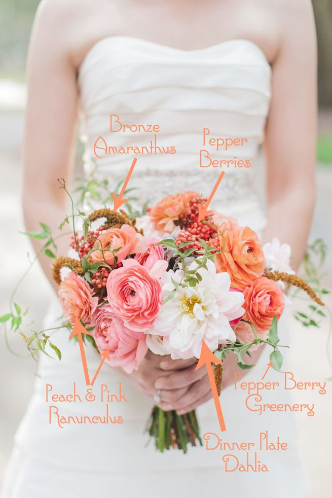 Bouquet Breakdown: Perfectly Peach (& Pink!) Bridal Bouquet | FiftyFlowers - Wedding Flower Reviews | Fifty Flowers