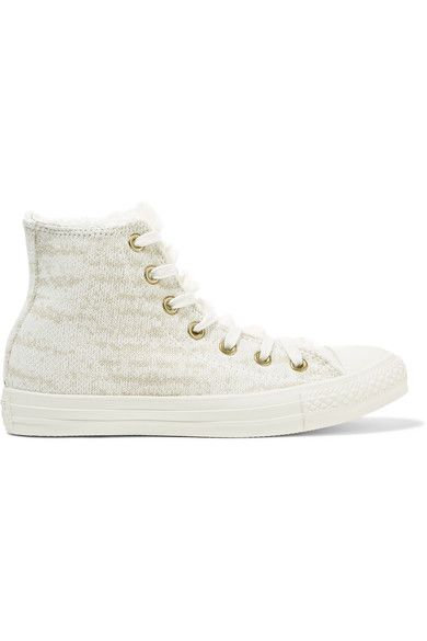 Converse - Chuck Taylor All Star Faux Shearling-trimmed Knitted High-top Sneakers - Off-white - UK4.5